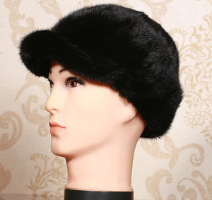Mink hair hat ear protector cap 2015 new style high quality men's mink hair benn fur hat  winter 58-60cm size biack brown color