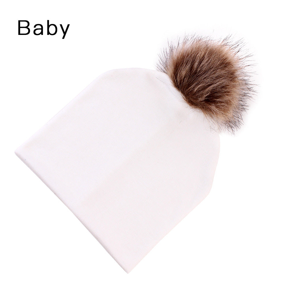 Mommy and Baby Hat Winter Warm Women Kids Cot Hat Caps Mink Fur Ball . 75a249695646
