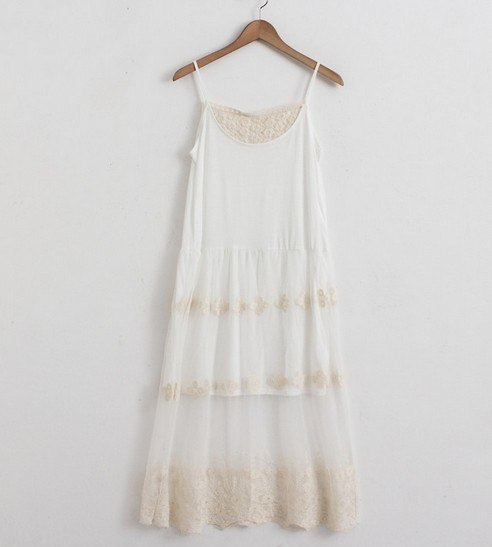 Mori Girl Lace Mesh Embroidery Basic Summer Long Pleated Casual Dress Vestidos Verao Renda Roupas Longo Ropa Mujer Tunique Boho
