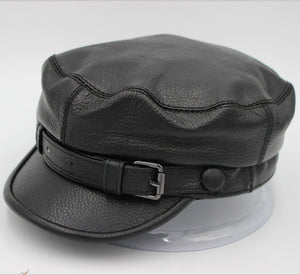f3a42f9d Motorcycle cap cowhide leather military hat men women autu winter co  motorcycle Harley locomotive cap 55-60cm black color