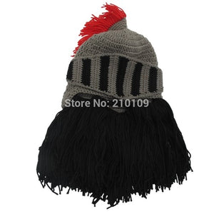 657380bb708 Red Tassel Cosplay Knight Knit Helmet Men s Caps Original Barbarian  Handmade Winter Warm Beard Hats Funny