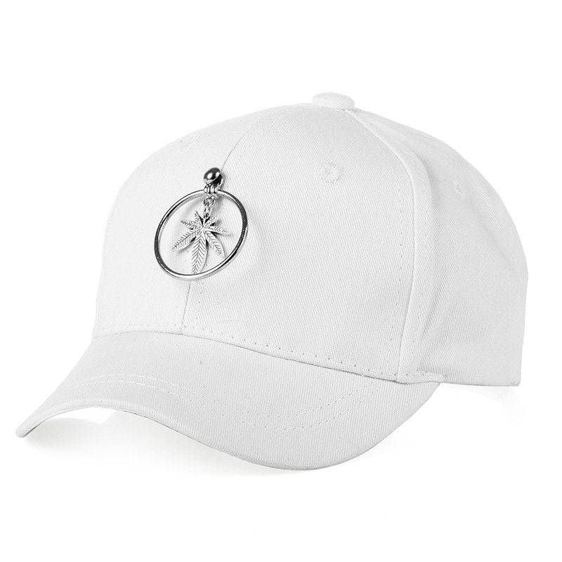 Myelo Maple Leaf Round Rings Pendants Caps Hats Spring Summer Small Fresh Women Baseball Cap Soild Cot Adjustable Sports Hats
