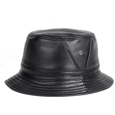NEW RY995 Man Real Leather Fitted Flat Bucket Hats Male Outdoor Potted Short Brim Black/Brown Hip Pop Gorras Elderly Fishing Cap