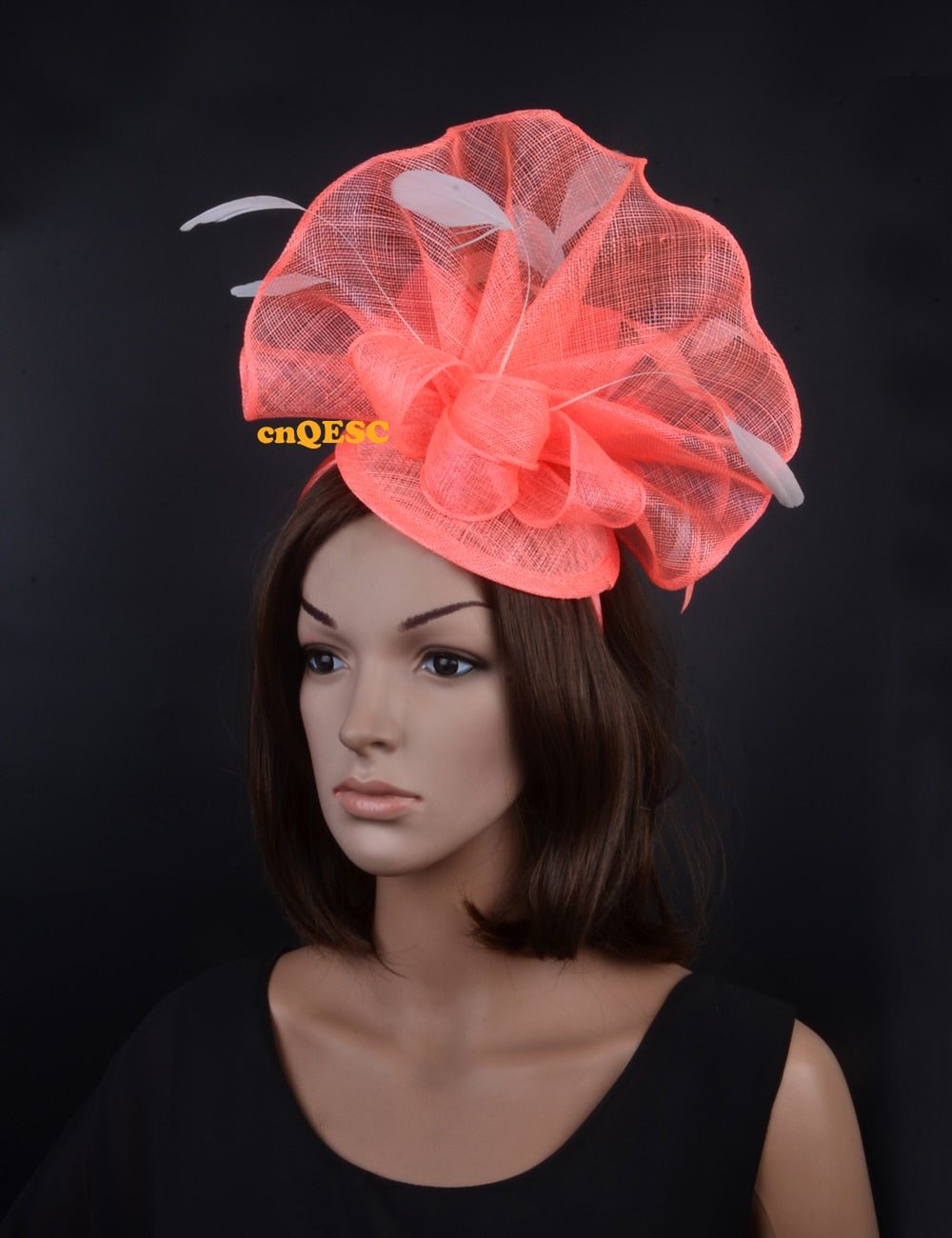 21ccc668424 Coral pink ivory Large feather fascinator sinamay fascinator formal hat  kentucky derby hat wedding hat.