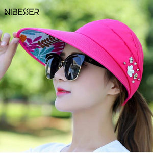 1d3c48d9a12ee Pearl Packable Sun Visor Hat Summer Women Beach Sun Hats With Big Heads Wide  Brim UV