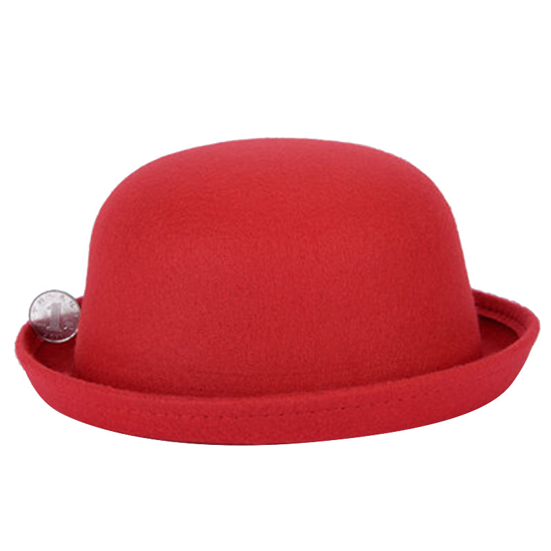 NIBSSER Bowler Hat Dome Cap Wo Felting Bowler Hat Fedora For Adult Children Winter Roll-up Brim Derby Hats