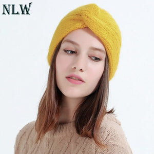 1c9f521a3eba0 NLW 2018 Winter hats Women off White Knitted Beanie Female Warm Yellow Caps  Streetwear Gorros Mujer
