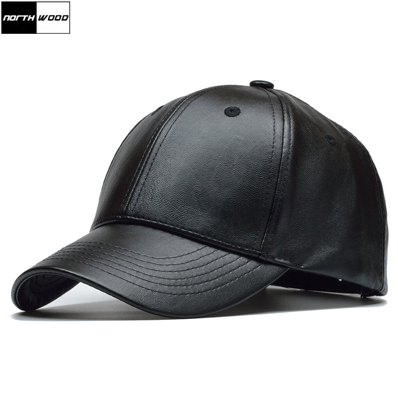 [NORTHWOOD] PU Leather Baseball Caps Solid Black Snapback Caps Bone Trucker Hat Gorras Para Hombre Fitted Hats For Men and Women