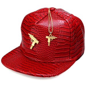 Metal Gold Pist Submachine Gun Logo Leather Baseball Cap Four Colors Casual Unisex Rap Sun Snapback Hat Men Women 5 Panel