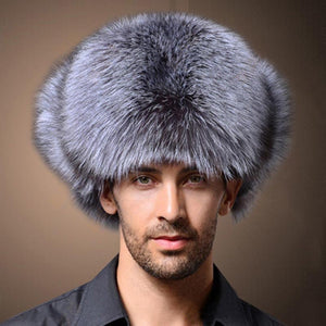 39f90c045a0 High Quality Mens Faux Fox Fur Winter Hats Lei Feng Hat With Ear Flaps Warm  Snow Caps Russian Thicken Hat Bomber Cap