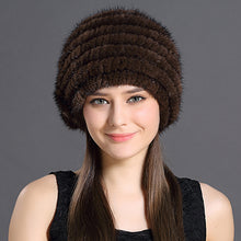 Load image into Gallery viewer, Natural Thicken Hats Winter Russian Female Solid Color Knitted Protective Head With Beautiful Flowers Warmed Woman Thick Caps