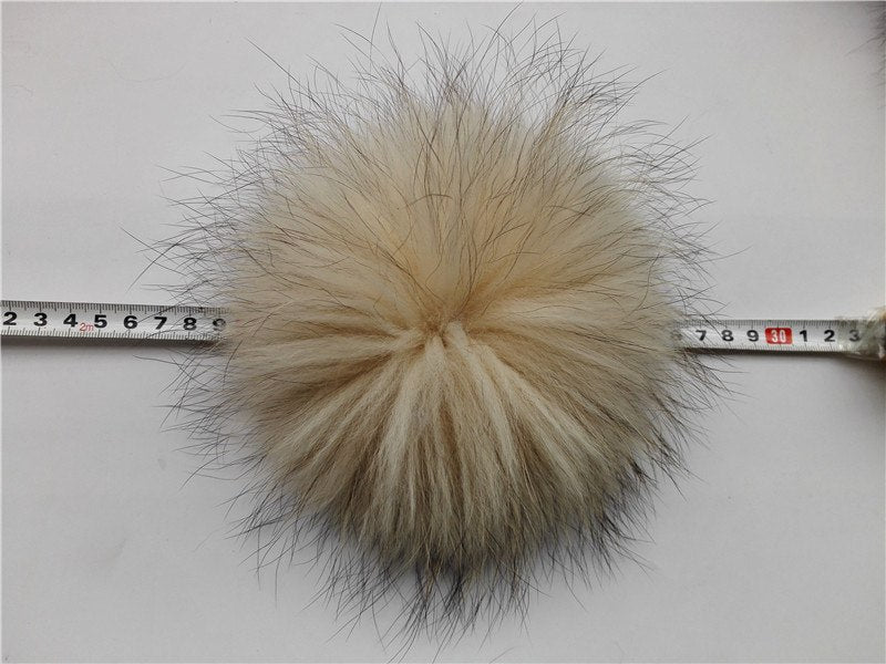 Nature Beige Real Raccoon Fur Pom pom For Knitted Hats Beanies 15-18cm Genuine Fur Balls For Skullies Caps Bone Gorros
