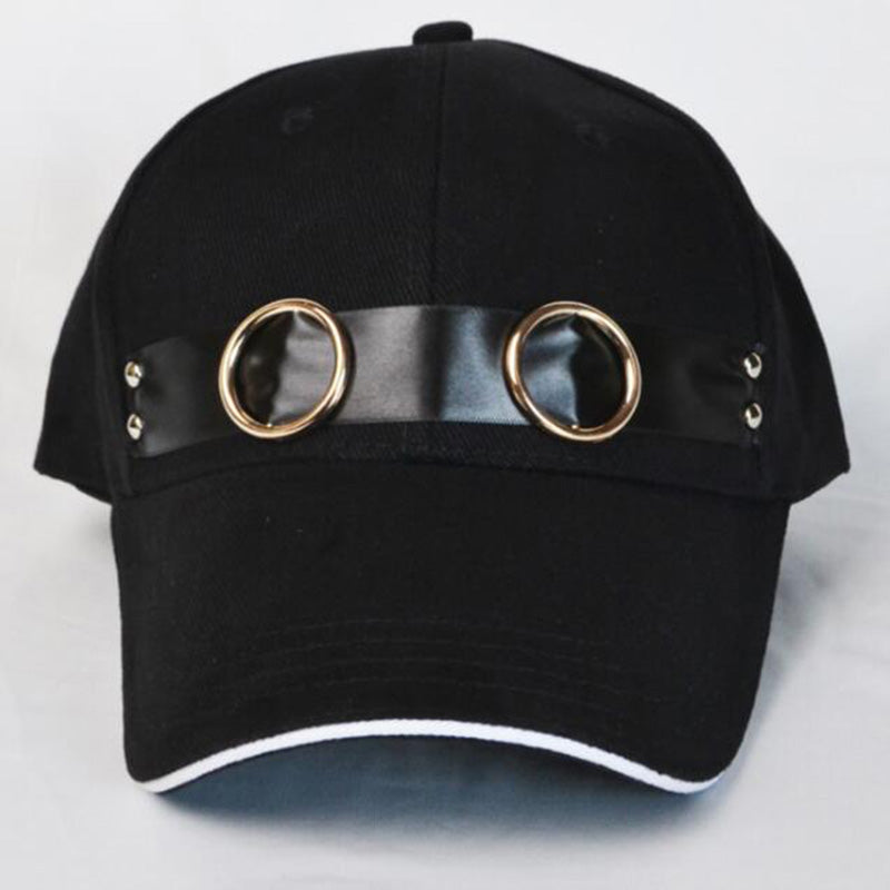 Neutral Baseball Cap with Ring Accessories Hat Shopping Outing Shade Fashion Adjustable Black Rivets