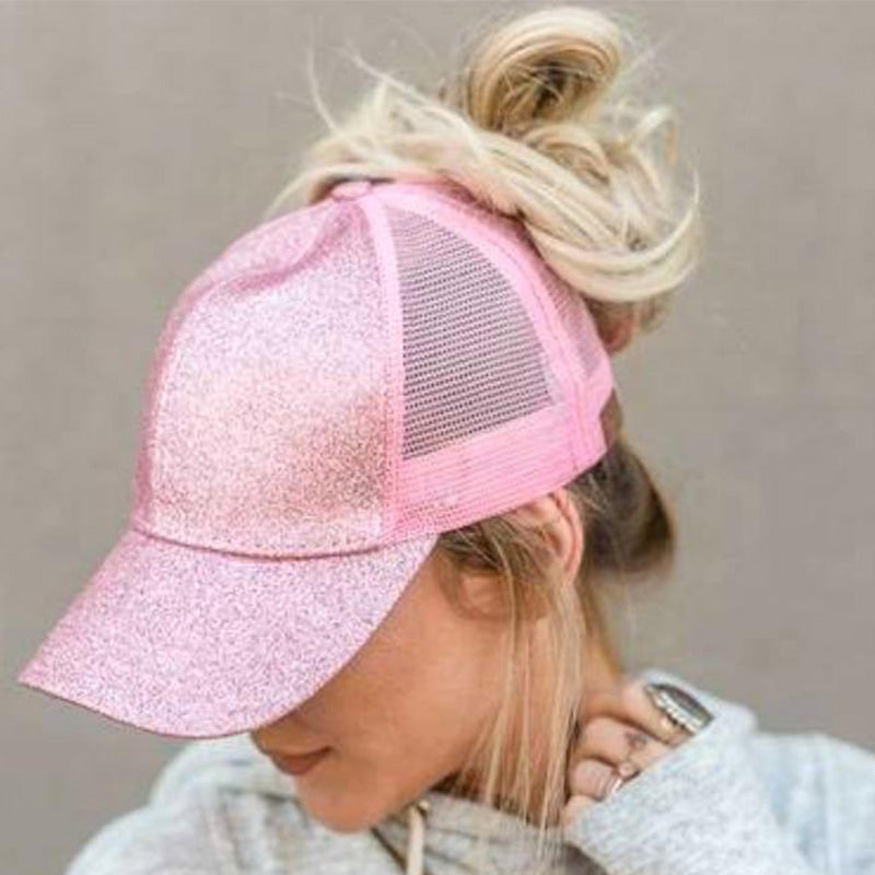 New 2020 CC Bling Glitter Ponytail Baseball Cap Women Snapback Hat Summer Messy Bun Mesh Hats Casual Adjustable Sportting Caps