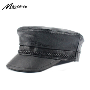 New 2020 Spring PU Hats Faux Leather Casual Thermal Men Military Hat Short Brim Cadet Adult Cap Women Bone Female Black Gorras