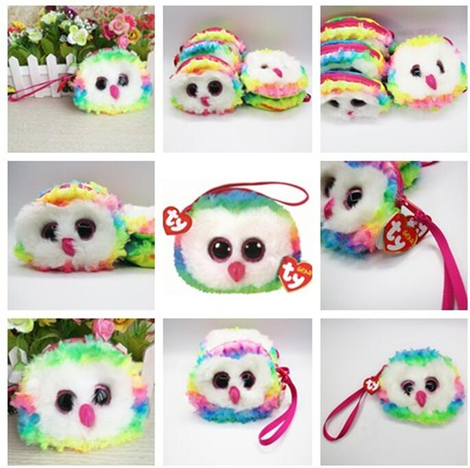 New 2020 TY Gear Beanie Boos OWEN Multi Color Owl Wristlet Coin Purse with Strap Plush Stuffed Animal Toy Christmas Gift