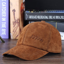 Load image into Gallery viewer, New 2020 Winter Genuine Leather Moto Tricycle Baseball Caps For Man Male Outdoor Warm Nubuck Black/Brown Gorro Dad Truck Hats
