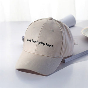 New Adjustable Letter work hard play hard Embroidery Baseball Caps For Men Women Cot Snapback Dad Hats For Men Khaki Bone Hat
