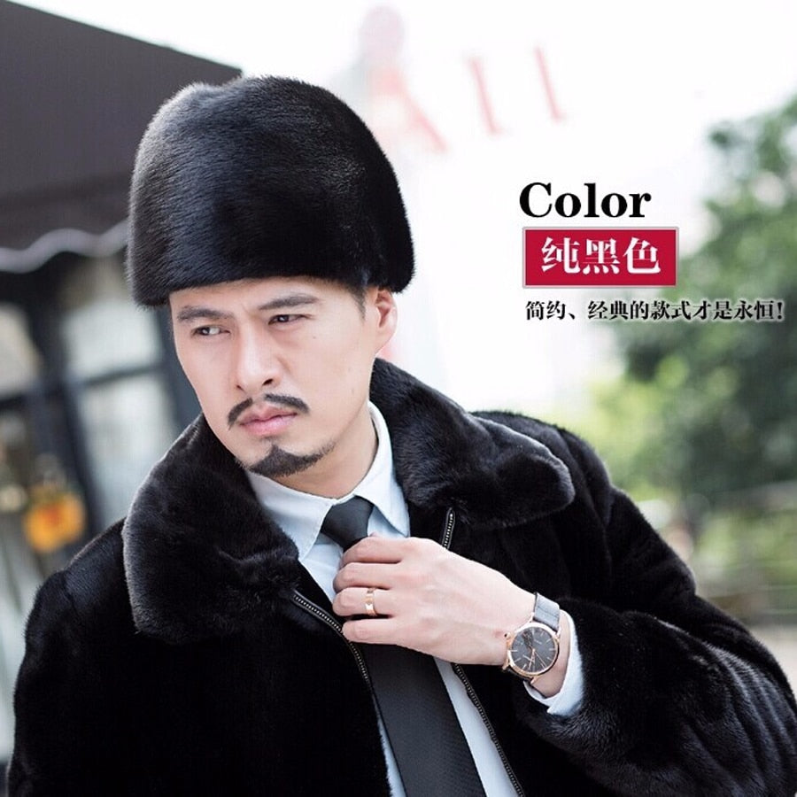 New Arrival 2017 Import Fur Of Mink Fall/winter Men Winter Hats Men's Leather Mink For The Elderly Gentleman Hat To Keep Warm