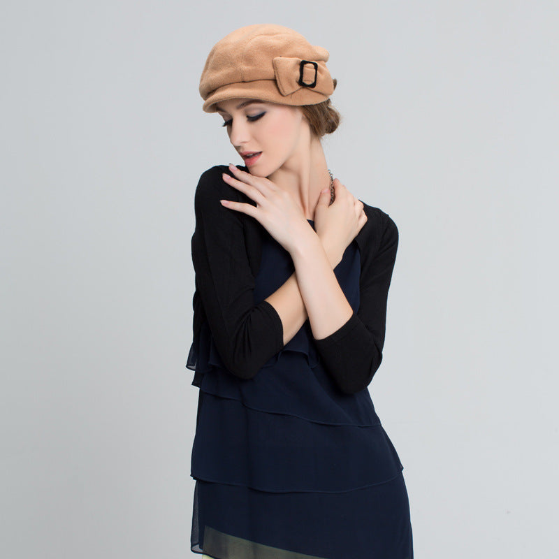 recherche d'officiel mode la plus désirable offrir des rabais New Arrival Wo Blend Hat Women Winter Newsboy Cap Beret Painter Visor Hat  Casquette Gavroche Fleece Warm Peaked Cap B-7325