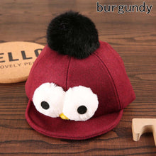 Load image into Gallery viewer, New Autumn Winter Lovely Children Eye Hair Ball Baseball Cap Hat Duck Tongue Cute Hat