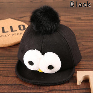 New Autumn Winter Lovely Children Eye Hair Ball Baseball Cap Hat Duck Tongue Cute Hat
