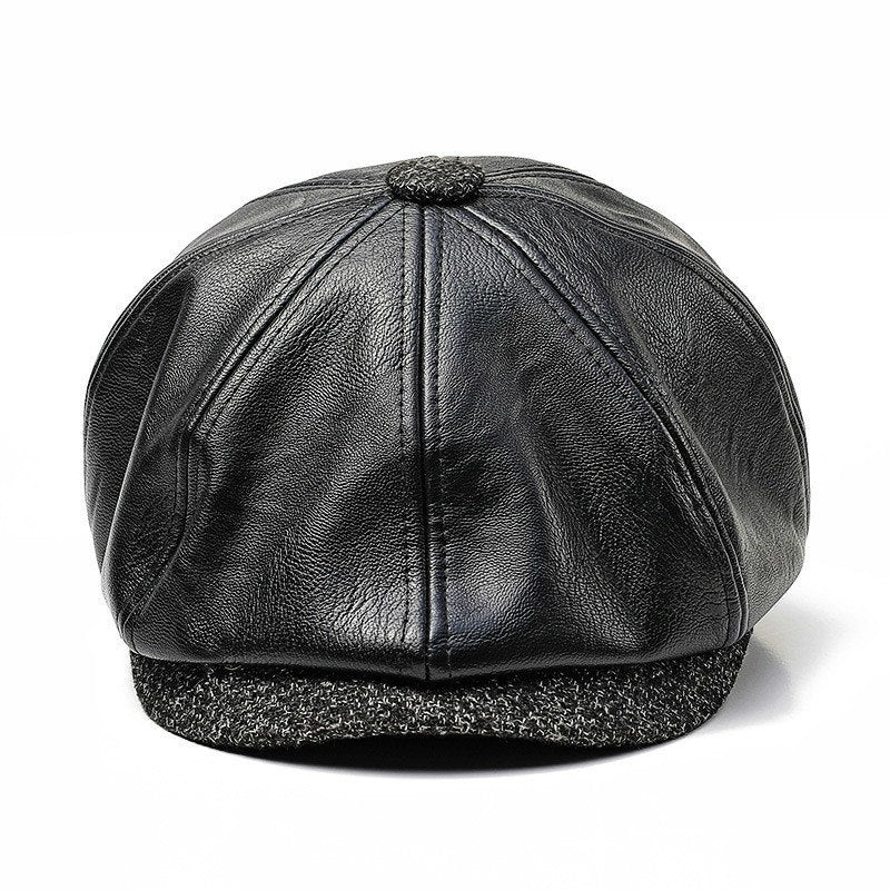 New Autu Winter PU Leather Hat Newsboy Cap Men Beret Fashion Octagonal Hats Outdoor Men's Caps Gorras Casquette