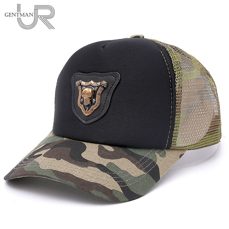 New Co Camouflage Mesh Baseball Cap Skull Metal Label Hat Cap Men And Woman Fashion Cap