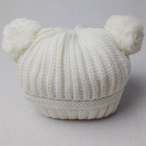 New Designer Fashion  Baby Girls Boys Kids Children Winter Warm Dual Ball Knit Cute Sweater Cap Hats Knitted Hat Cai0030