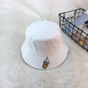 New Fashion Black White Color Cute Cartoon Printing Bucket Hats Summer Hats  For Women Flat Fishing 72d4995a797