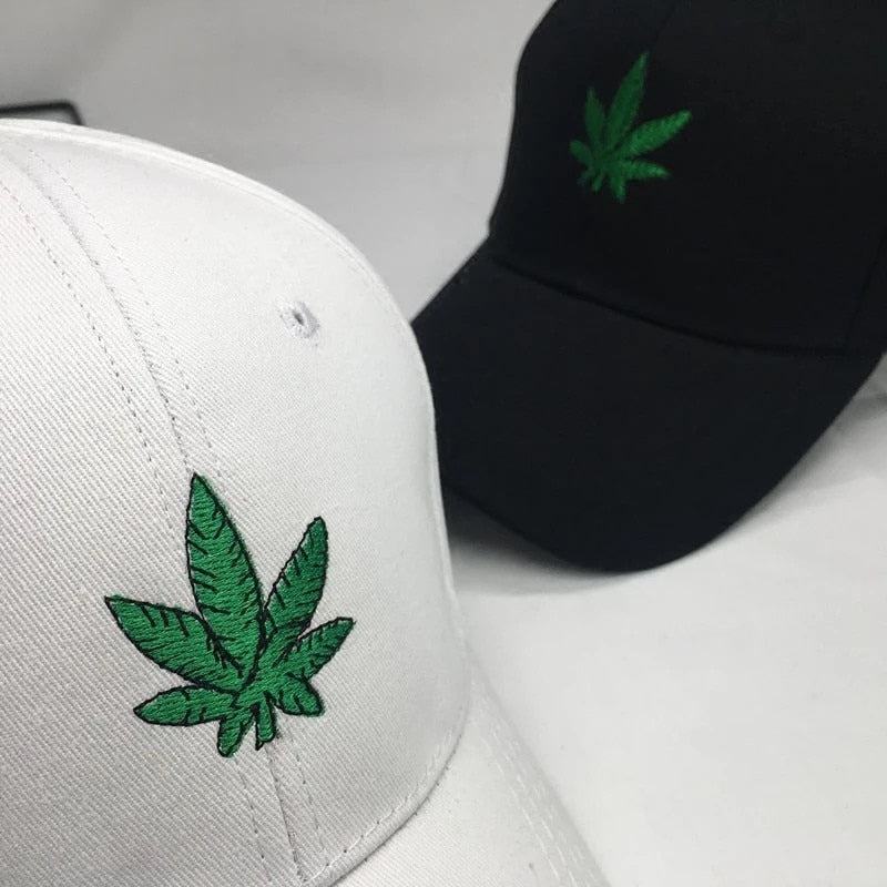 New Fashion Embroidery Maple Leaf Black Cap Weed Snapback Hat For Men Women Cot Swag Black Hat Hip Hop Fitted Baseball Cap