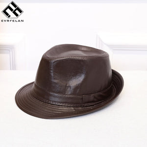 9fb8b2ceac2 New Fashion Fedoras Leather Men Solid Small Fedora Hats Unisex Popular  Vintage Fedoras Caps High Quality Wholesale