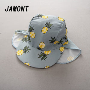 28bdf05d266 New Fashion Lovely Summer White Pineapple Printed Bucket Hats Outdoor  Pineapple Fisherman Sun Caps Kid Girls