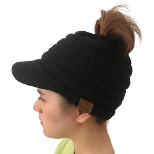 New Fashion Trendy CC Warm Winter Hat For Women Ponytail Beanie Stretch Cable Knit Messy Bun Hats Soft Ski Caps