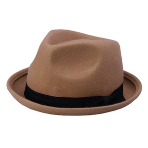New Fashion Winter Autu Women Wo Black Fedora hat For Laday Felt Trilby Hat Gangster Panama Sun Hat