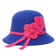 Load image into Gallery viewer, New Fashion Women Elegant Felt Fedora Round Bowler Hats Flower Church Vintage Hats Caps Winter Hats Women Royal Princess Caps