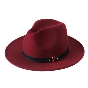 New Fashion Wo Women's Black Fedora Hat For Laday Woolen Wide Brim Jazz Church Cap Vintage Panama Sun Top Hat 20
