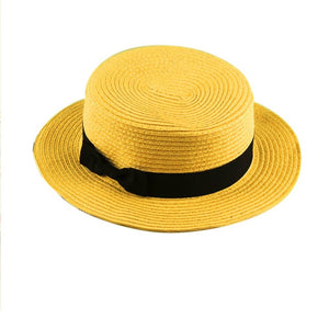 New Fashionable Design Children Girls Adult Women Summer Sunscreen Boater Hat Classic Weave Straw Ladies Flat Top Beach Hat