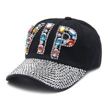 Load image into Gallery viewer, New Full Crystal Colorful Big VIP Denim Baseball Cap Bling Rhinestone Hip Hop Adjustable Snapback Hats for Women Men