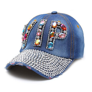 New Full Crystal Colorful Big VIP Denim Baseball Cap Bling Rhinestone Hip Hop Adjustable Snapback Hats for Women Men