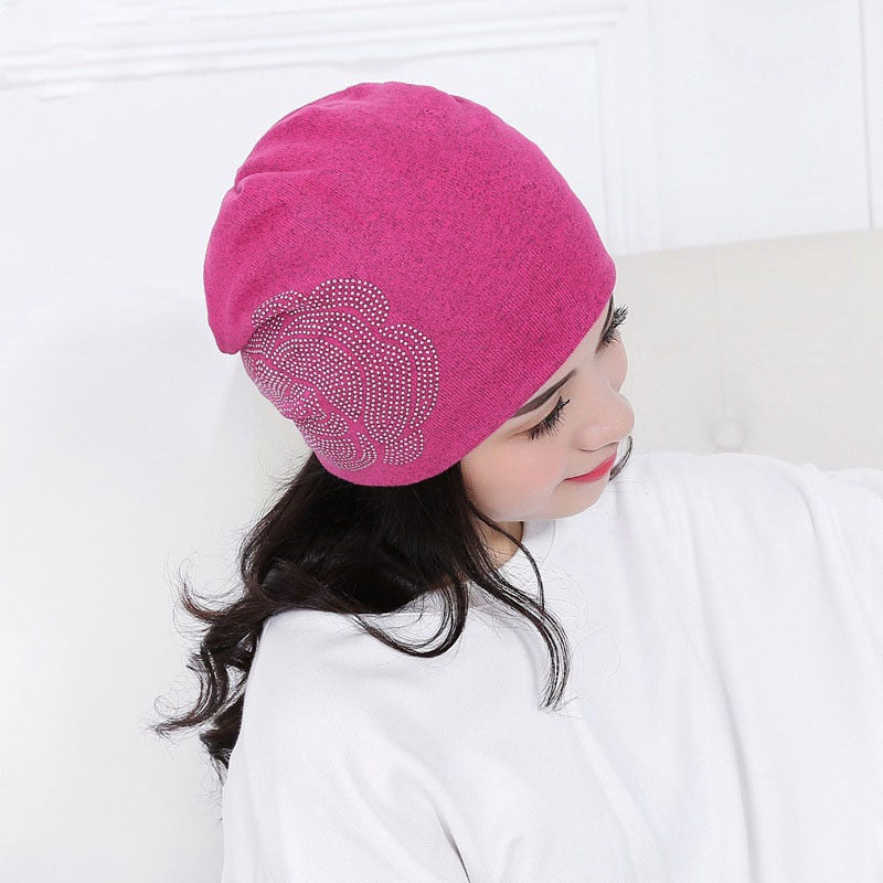 New Keep Warm Knitted Hat Beanies Winter Hat for Women Cheap Girl 's Hat Cotton Cap New Thick Female Cap