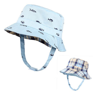3f5fbe68 New Kids Foldable Fish Printing Plaid Bucket Hat Two Side Reversible Wear  Animals Fishing Hat Child