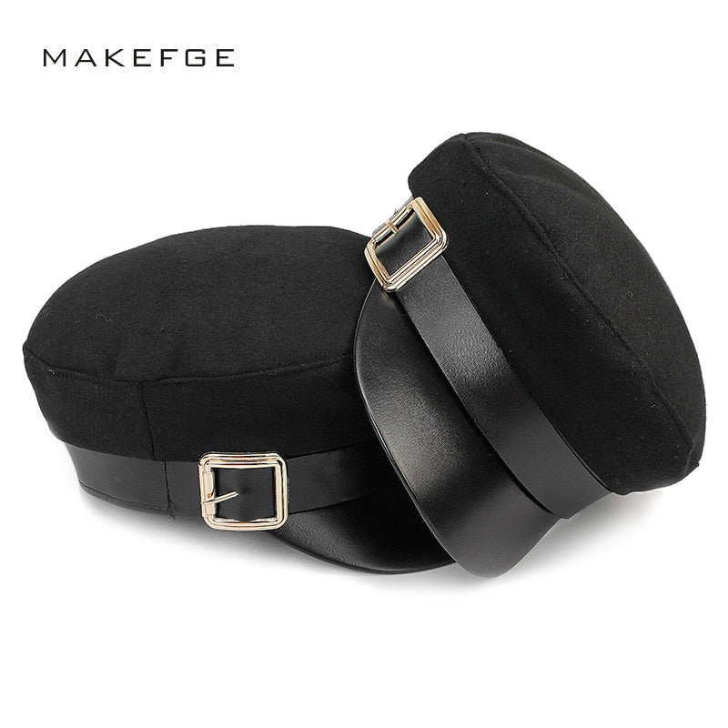 New Ladies Black Military Cap Fashion Flat Top Hat Woman Men Autu Winter Warm Wo Thickening PU Leather Newsboy Caps Bone