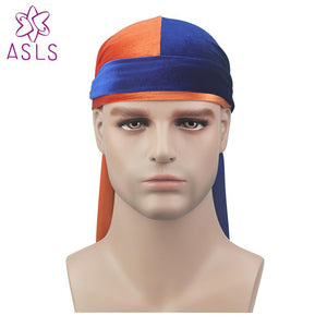 4a972f1294e New Luxury Men s Velvet Patchwork Durags Bandana Turban Hat Wigs Doo Durag  Biker Headwear Headband Pirate Hat Hair Accessories