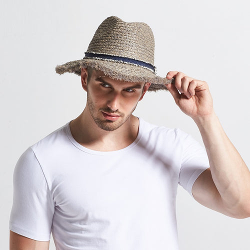 759989950a2 New Male Raffia Sun Hat Wide Brim Adult Spring British Male Sun Cap Men s  Outdoor Summer