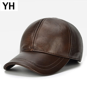New Men Real Leather Baseball Cap Brand Casual Cowhide eather Baseball Hat Autu Winter Real Cowhide Leather Ear Protection Cap