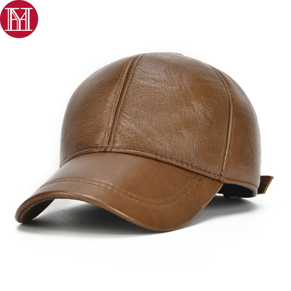 ab96de134cf4 New Outdoor Casual Men Real Cowhide Leather Earflap Caps Male 100% Real Cow  Leather Hats Fall Winter Real Leather Baseball Cap