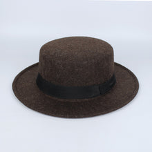 Load image into Gallery viewer, New Pork Pie Hat Men Tan Wo Fedora Hats Winter Bowler Women Brown Felt Fedoras Hat Ribbon Bowknot Top Woolen Caps Wholesale