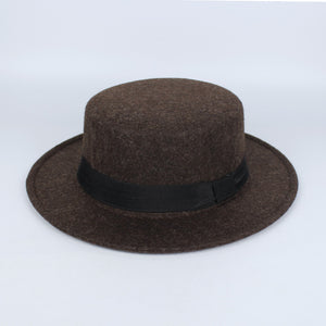 New Pork Pie Hat Men Tan Wo Fedora Hats Winter Bowler Women Brown Felt Fedoras Hat Ribbon Bowknot Top Woolen Caps Wholesale