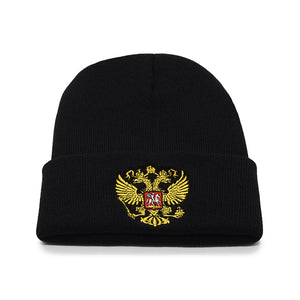 13eb2052450 New Russia Winter Hat Men Women Warm Russian Emblem Knitted Hat Skullies  Beanies Black Unisex Winter Casual Mask Beanie Knit Cap